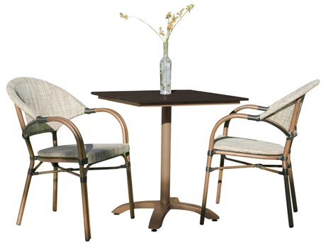 Hospitality Rattan Outdoor Brookwood Dark Brown Aluminum 3 Piece Bistro Dining Set HP8991464BRW3PC