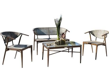 Hospitality Rattan Outdoor Brookwood Dark Brown Aluminum 4 Piece Lounge Set HP8991638BRW4PC
