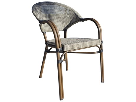 Hospitality Rattan Outdoor Brookwood Dark Brown Aluminum Stackable Dining Arm Chair HP8991639BRW