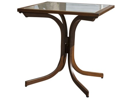 Hospitality Rattan Outdoor Brookwood Dark Brown Aluminum 20Wide Square Glass Top End Table HP8993160BRWET