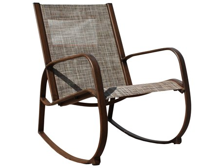 Hospitality Rattan Outdoor Brookwood Dark Brown Aluminum Rocking Lounge Chair HP8993160BRWRC
