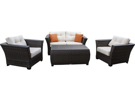 Hospitality Rattan Outdoor Fiji Dark Brown Wicker Cushion Lounge Set PatioLiving