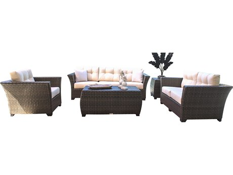 Hospitality Rattan Outdoor Fiji Dark Brown Wicker Cushion Lounge Set