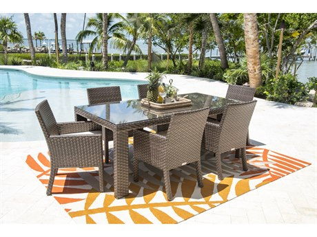 Hospitality Rattan Outdoor Fiji Dark Brown Wicker 7 Piece Dining Set with Cushions PatioLiving