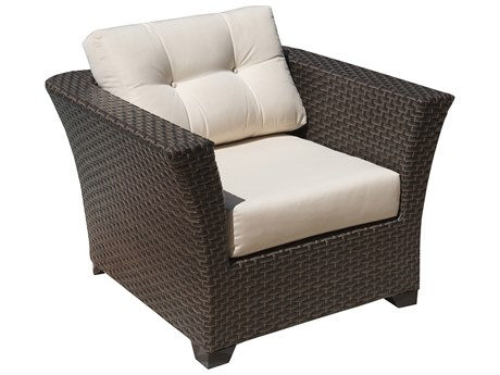 Hospitality Rattan Outdoor Fiji Dark Brown Wicker Lounge Chair with Cushions PatioLiving