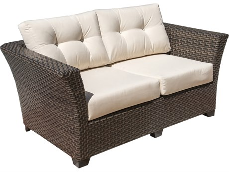 Hospitality Rattan Outdoor Fiji Dark Brown Wicker Loveseat with Cushions