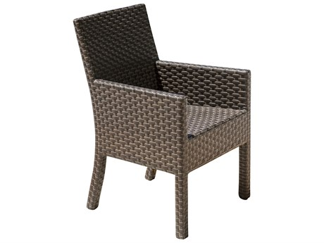 Hospitality Rattan Outdoor Fiji Dark Brown Wicker Stackable Dining Arm Chair PatioLiving