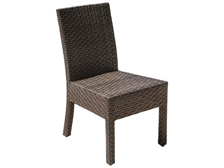 Hospitality Rattan Outdoor Fiji Dark Brown Wicker Stackable Dining Side Chair PatioLiving