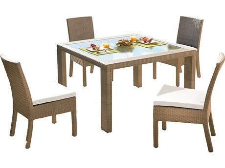 Hospitality Rattan Outdoor Rubix Kubu Wash Wicker 5 Piece Dining Set PatioLiving