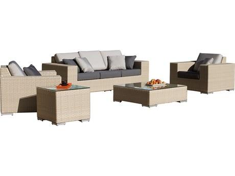 Hospitality Rattan Outdoor Rubix Kubu Wash Wicker Cushion Lounge Set PatioLiving