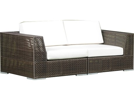 Hospitality Rattan Outdoor Soho Deep Seating Java Brown Wicker 2 Piece Loveseat