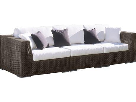 Hospitality Rattan Outdoor Soho Deep Seating Java Brown Wicker 3 Piece Lounge Set