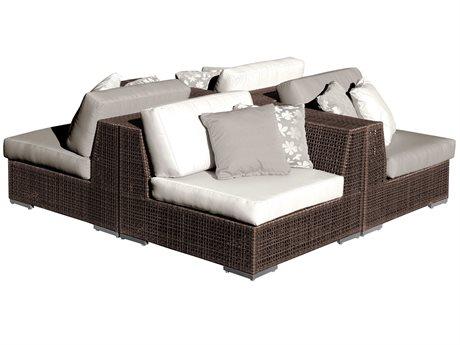 Hospitality Rattan Outdoor Soho Deep Seating Java Brown Wicker 4 Piece Sectional Lounge Set