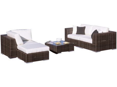 Hospitality Rattan Outdoor Soho Deep Seating Java Brown Wicker 5 Piece Sectional Lounge Set PatioLiving