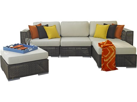 Hospitality Rattan Outdoor Soho Wicker 5 Piece Sectional Lounge Set with Cushions PatioLiving