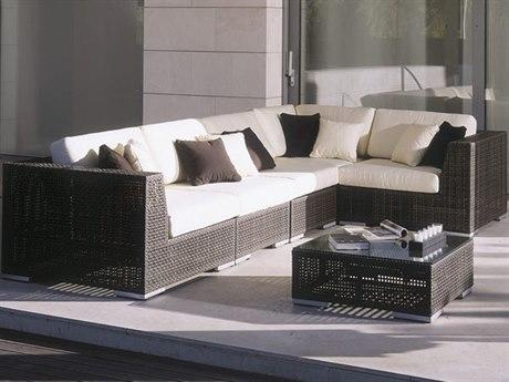 Hospitality Rattan Outdoor Soho Deep Seating Wicker 6 Piece Sectional Lounge Set