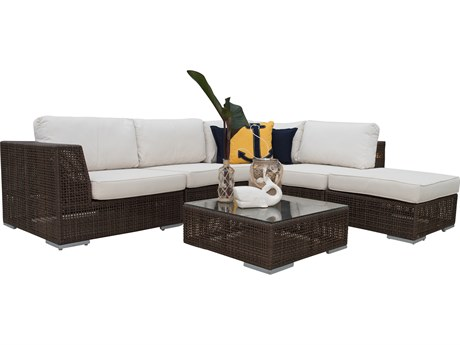 Hospitality Rattan Outdoor Soho Java Brown Wicker Cushion Lounge Set PatioLiving