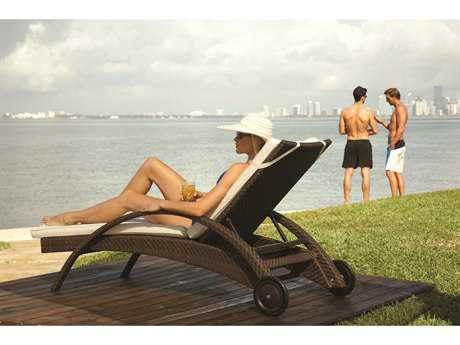 Hospitality Rattan Outdoor Soho Wicker Chaise Lounge with Wheels