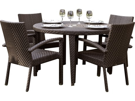 Hospitality Rattan Outdoor Soho Java Brown Wicker 5 Piece Dining Set with Cushions