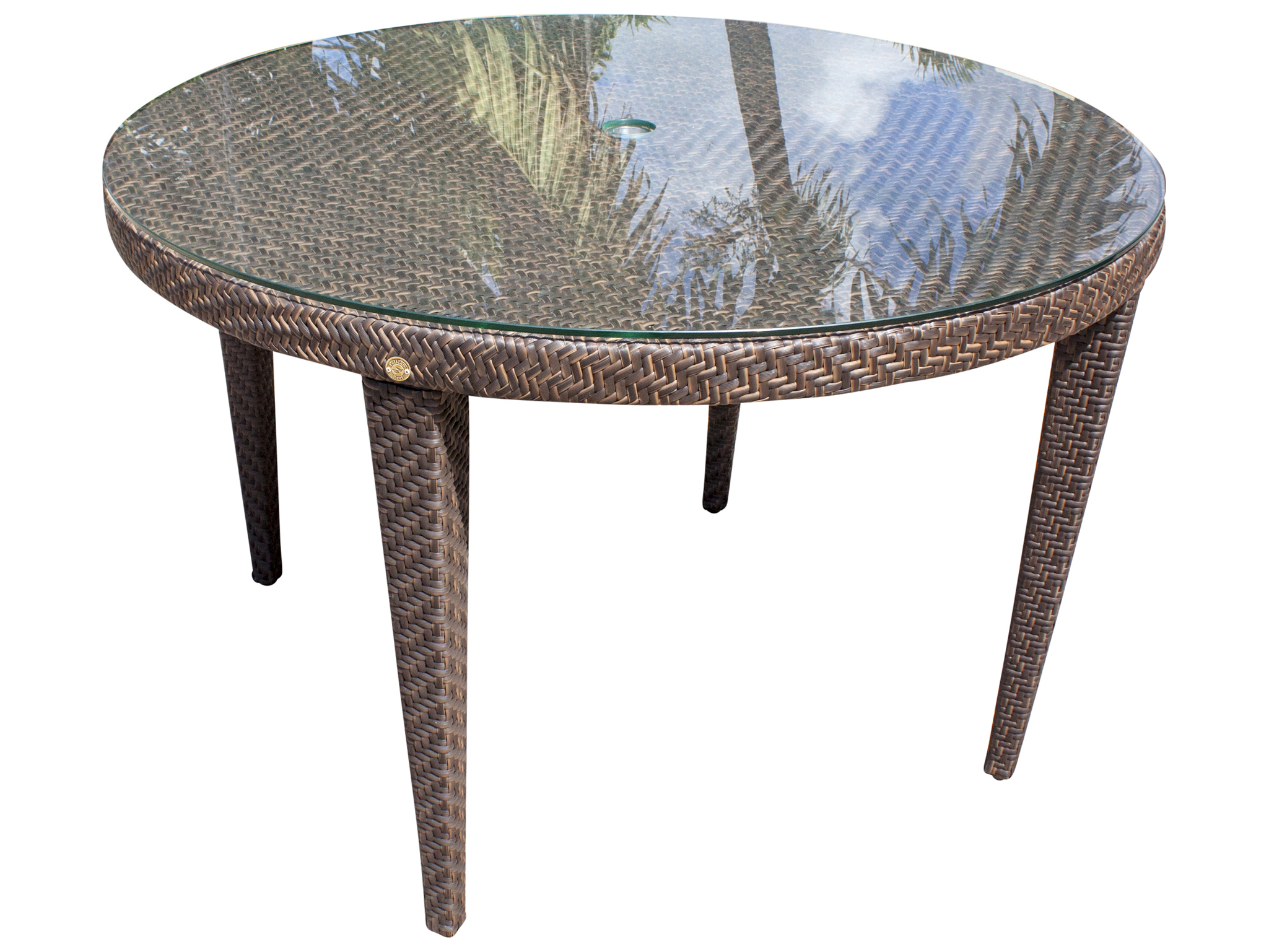 Hospitality Rattan Outdoor Soho Java Brown Wicker 47wide Round Gl Top Dining Table With Umbrella Hole