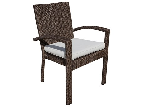 Hospitality Rattan Outdoor Soho Wicker Stackable Dining Arm Chair PatioLiving