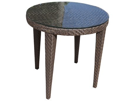 Hospitality Rattan Outdoor Soho Java Brown Wicker 30Wide Round Glass Top Dining Table with Umbrella Hole