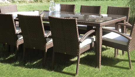Hospitality Rattan Outdoor Soho Wicker 78 x 36 Rectangular Large Woven Dining Table