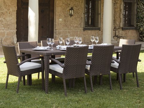 Hospitality Rattan Outdoor Soho Java Brown Wicker 9 Piece Dining Set with Cushions PatioLiving