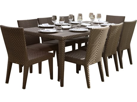 Hospitality Rattan Outdoor Soho Java Brown Wicker 9 Piece Dining Set