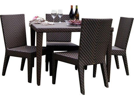 Hospitality Rattan Outdoor Soho Java Brown Wicker 5 Piece Dining Set
