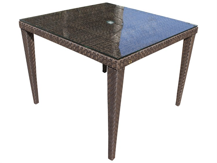 Hospitality Rattan Outdoor Soho Java Brown Wicker 40wide Square Gl Top Dining Table With Umbrella Hole