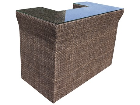 Hospitality Rattan Outdoor Soho Java Brown Wicker 60''W x 30''D Rectangular Glass Top Bar Table