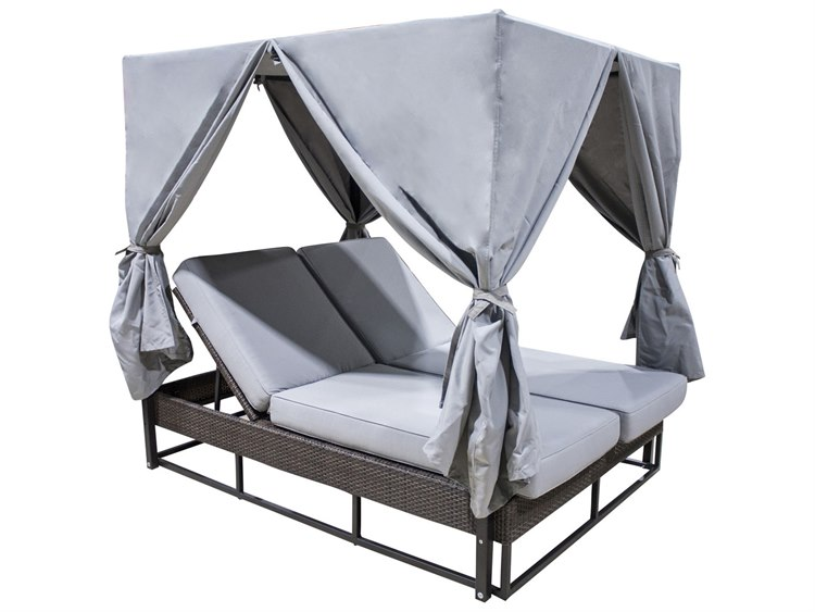 Hospitality Rattan Outdoor Soho Wicker Daybed with Curtain