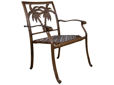 Hospitality Rattan Outdoor Coco Palm Dark Bronze Aluminum Stackable Dining Arm Chair HP9103184BRZAC