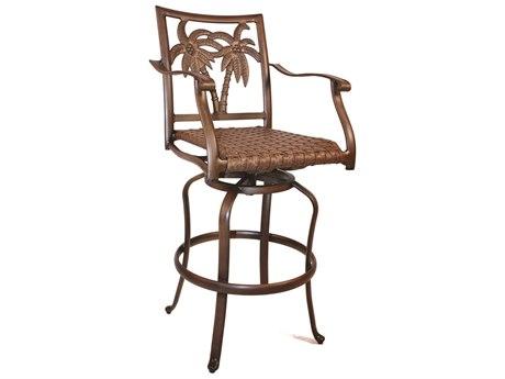 Hospitality Rattan Outdoor Coco Palm Aluminum Swivel Barstool HP9106109BRZB