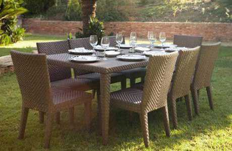 Hospitality Rattan Outdoor Soho Wicker Nine Piece Dining Set