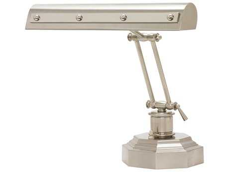 House of Troy Satin Nickel with Polished Nickel Accents Two-Light Piano Lamp with Rivet Motif