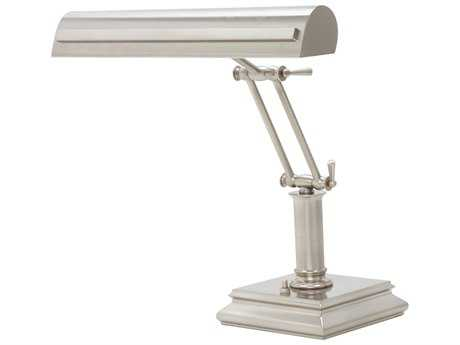 House of Troy Satin Nickel with Polished Nickel Accents Two-Light Piano Lamp with Strap Motif