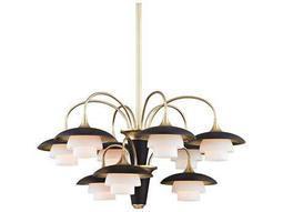 Hudson Valley Warm Modern Barron Aged Brass Nine-Light 30.75'' Wide Chandelier