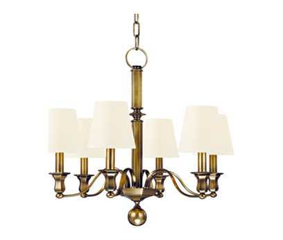 Hudson Valley Lighting Charlotte Timeless Elegance Six-Light Chandelier with White Silk Shade