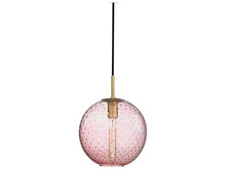Hudson Valley Warm Modern Rousseau Aged Brass 11.25'' Wide Mini-Pendant with pink glass