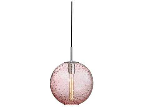 Hudson Valley Warm Modern Rousseau Polished Chrome 11.25'' Wide Mini-Pendant with pink glass