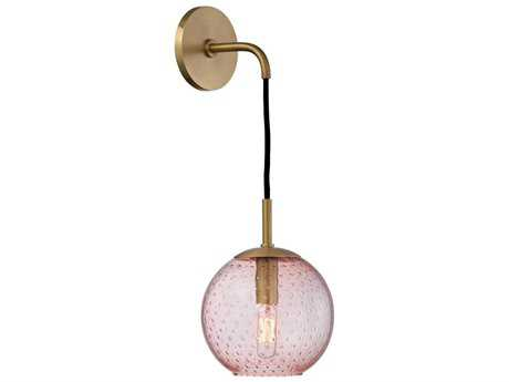 Hudson Valley Warm Modern Rousseau Aged Brass 6'' Wide Wall Sconce with Pink glass