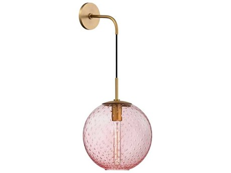 Hudson Valley Rousseau Aged Brass 12'' Wide Wall Sconce with Pink Shade