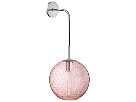 Hudson Valley Rousseau Polished Chrome 12'' Wide Wall Sconce with Pink Shade