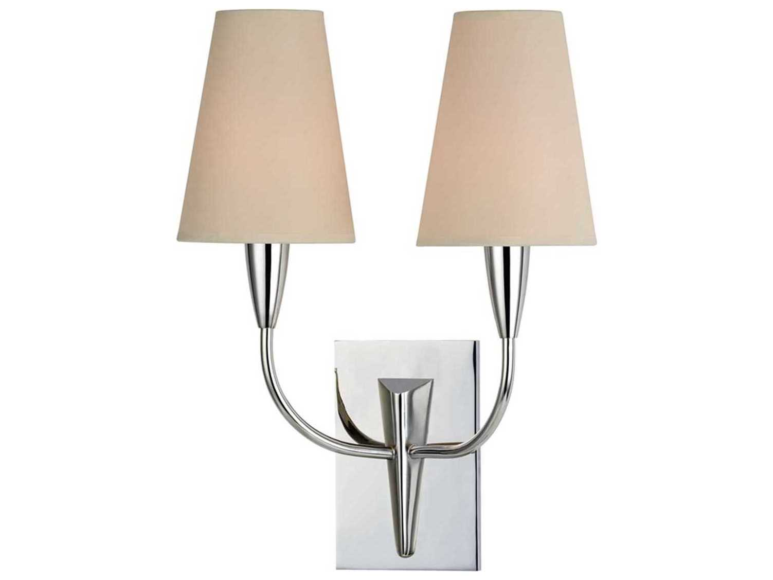 Modern Ridged Shade Bath Sconce 2 Light: Hudson Valley Berkley Polished Chrome Two-Light 12'' Wide