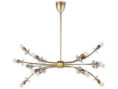 Hudson Valley Warm Modern Alexandria Aged Brass 16-Light 19'' Wide Chandelier