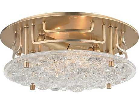 Hudson Valley Warm Modern Holland Aged Brass Two-Light 11.25'' Wide Flush Mount Light