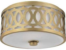Hudson Valley Classic Heritage Genesee Aged Brass Two-Light 13.5'' Wide Flush Mount Light