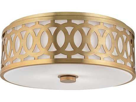 Hudson Valley Classic Heritage Genesee Aged Brass Three-Light 17'' Wide Flush Mount Light